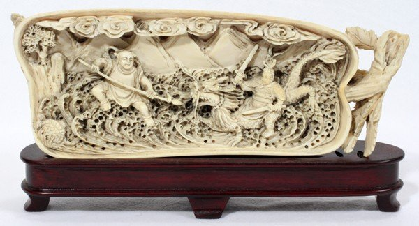 """011261: CHINESE IVORY CARVING WITH BATTLE SCENE, L 8"""""""