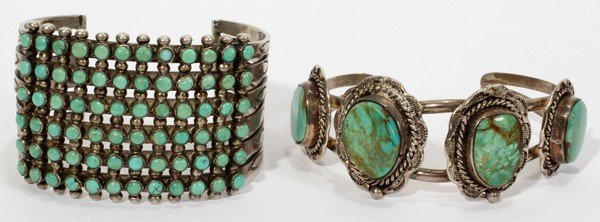 011385: NATIVE AMERICAN SILVER & TURQUOISE BRACELETS