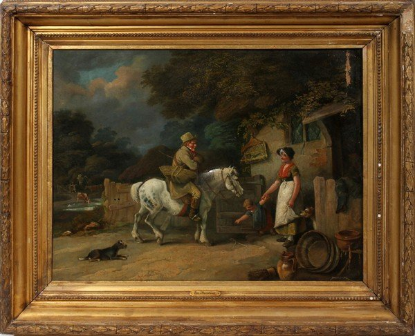 """012008: AFTER GEORGE MORLAND OIL ON CANVAS, 19"""" X 25"""""""