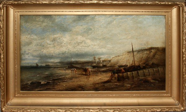 """012099: GEORGE D. CALLOW OIL ON CANVAS, 1881, 20"""" X 36"""""""