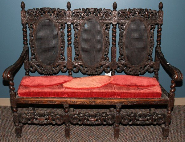 """012101: BAROQUE STYLE CARVED WOOD SETTEE, H 51 1/2"""","""