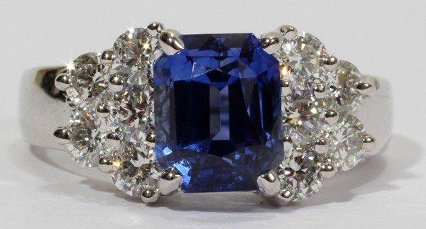 012108: 4.33 CT SAPPHIRE & 1.10 CT DIAMOND RING