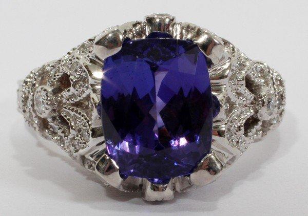 012110: 3.30CT TANZANITE & 1.50CT DIAMOND RING