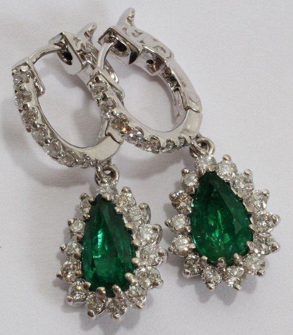 012112: 2.23CT EMERALD & 1.30CT DIAMOND EARRINGS