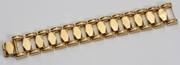 """012113: 14 KT YELLOW GOLD BRACELET, L 7 1/4"""" OVERALL"""