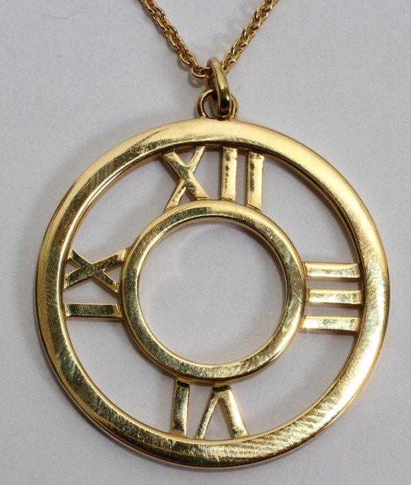 012116: TIFFANY & CO. 'ATLAS' GOLD PENDANT & CHAIN