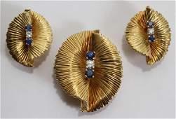 012118 TIFFANY  CO GOLD DIAMOND  SAPPHIRE EARCLIPS