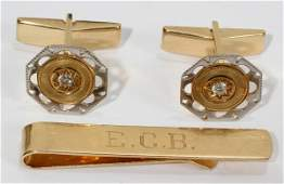 012147 14 KT YELLOW GOLD PLATINUM  DIAMOND CUFFLINKS