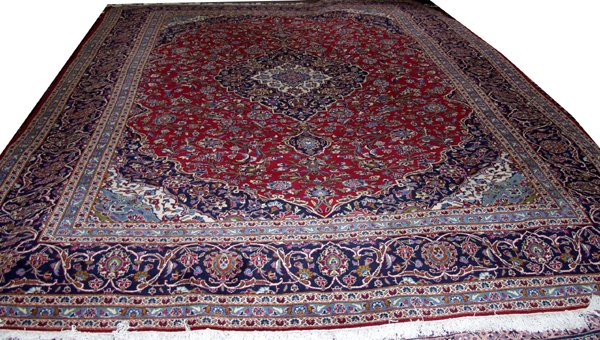 "090008: KASHAN PERSIAN WOOL CARPET, 9' 10"" X 14'"