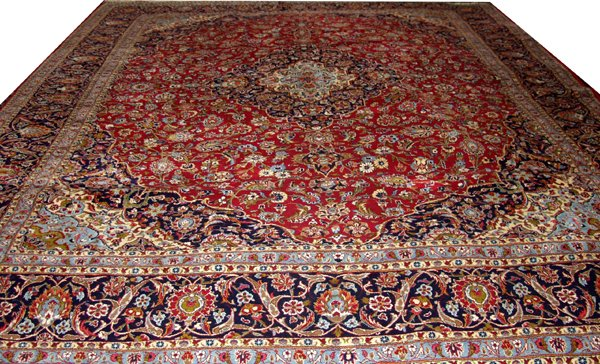 "090010: KASHAN PERSIAN WOOL CARPET, 11' 1"" X 13' 2"""