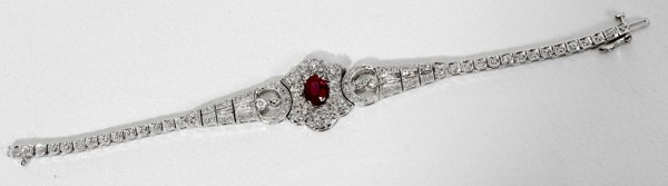 090022: DIAMOND, RUBY & WHITE GOLD BRACELET