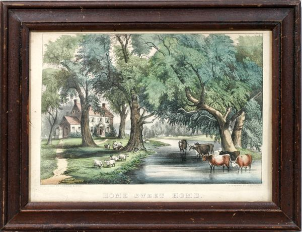 090242: CURRIER & IVES, LITHOGRAPH, HOME SWEET HOME