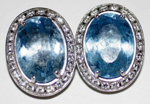 090990: BLUE TOPAZ, WHITE GOLD & DIAMOND EARRINGS