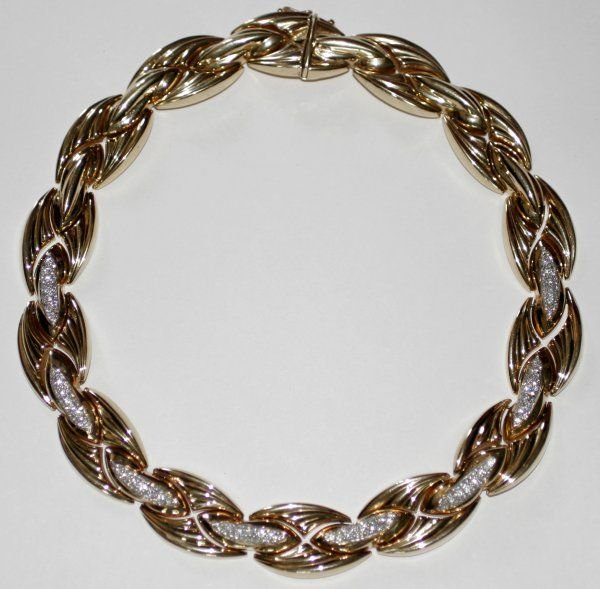 090991: ITALIAN YELLOW GOLD & DIAMOND NECKLACE
