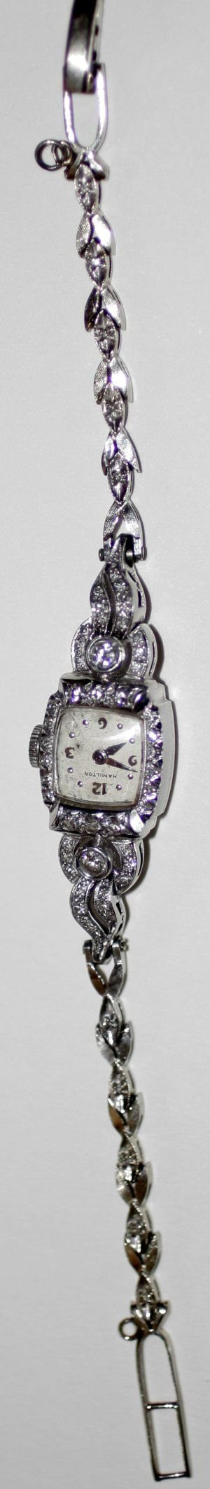 090992: HAMILTON PLATINUM & DIAMOND WRIST WATCH