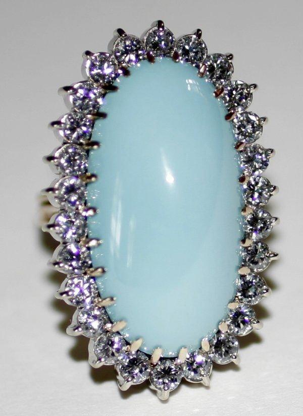090993: PERSIAN CABOCHON TURQUOISE & DIAMOND RING