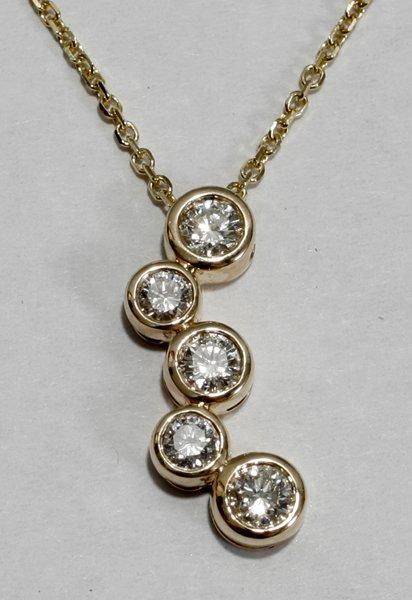 091003: TIFFANY STYLE DIAMOND & YELLOW GOLD NECKLACE