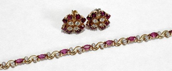 091004: GOLD, RUBY & DIAMOND BRACELET & EARRINGS