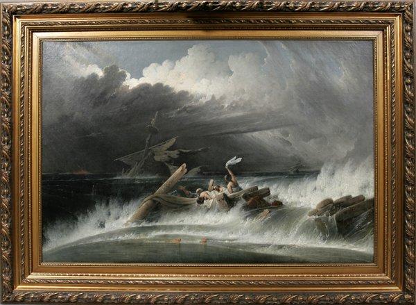 092009: JOSHUA SHAW, OIL ON CANVAS, SHIPWRECK