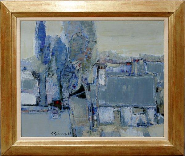 092022: G. GODARD, OIL ON CANVAS, MAISON A ERIGNY