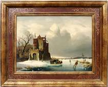092278 R JACOBI OIL ON BOARD ICE SKATING SCENE