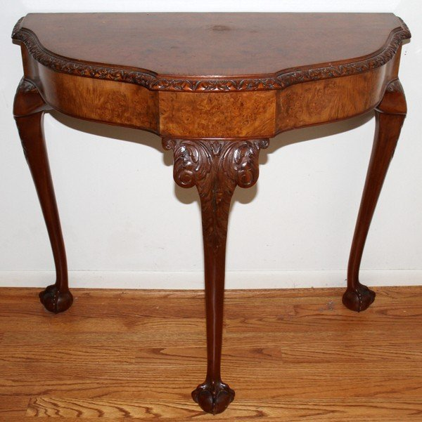 020006: WALNUT AND BURL WALNUT CARVED CONSOLE TABLE
