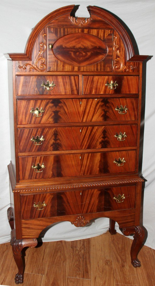 020007: QUEEN ANN STYLE, HIGH BOY CHEST OF DRAWERS,