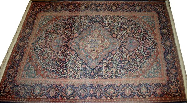 020015: ANTIQUE KASHAN, SILK ORIENTAL RUG, C1900, 4' 6""