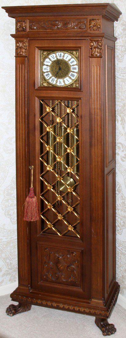 020019: ITALIAN WALNUT GRANDFATHER CLOCK, CHIMES, H 77""