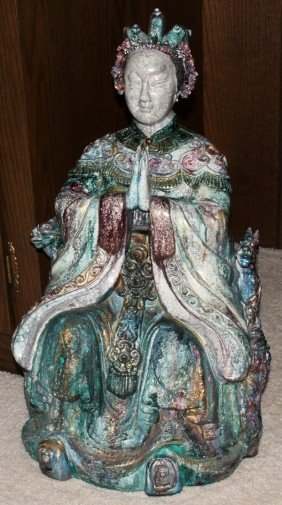 CHINESE ANTIQUE STYLE POTTERY FIGURE OF EMPRESS