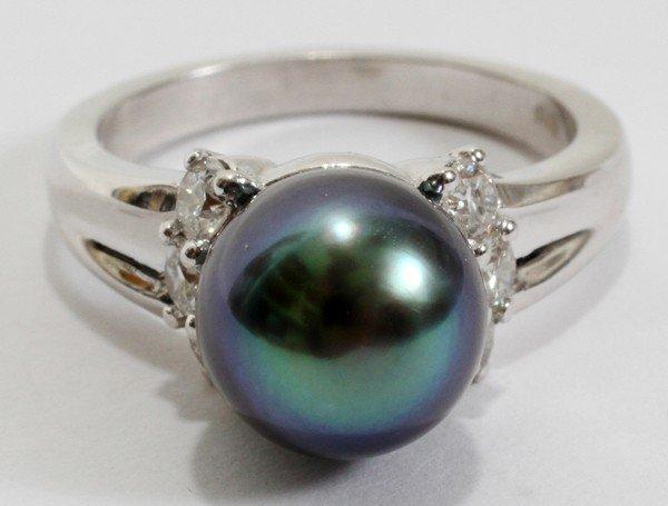 020173: 9MM TAHITIAN BLACK PEARL & DIAMOND RING