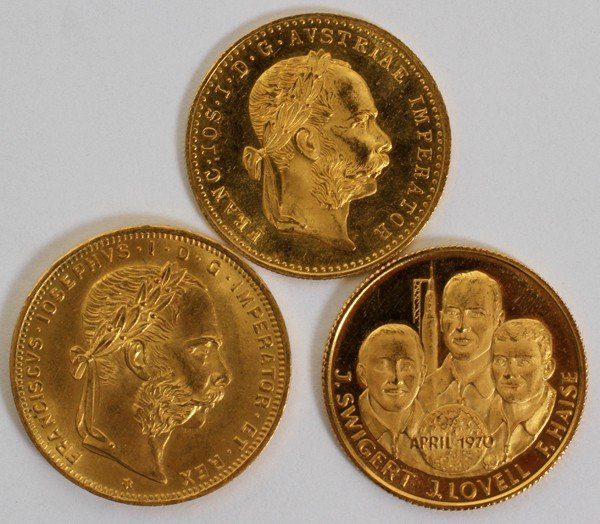 020175: GOLD COINS:, 1915 AND 1892 AUSTRIA, ALSO APOLLO