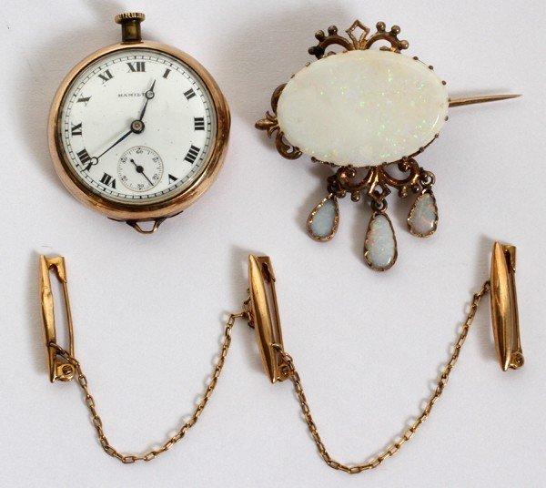 020177: GOLD FILLED LADY'S POCKET WATCH & PINS ANTIQUE