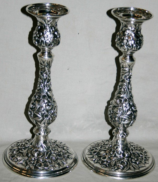 020182: S. KIRK & SON REPOUSSE STERLING CANDLESTICKS,