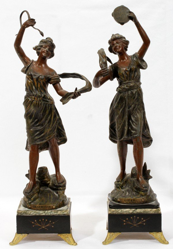 020184: FIGURAL SPELTER AND MARBLE CANDELABRA PAIR