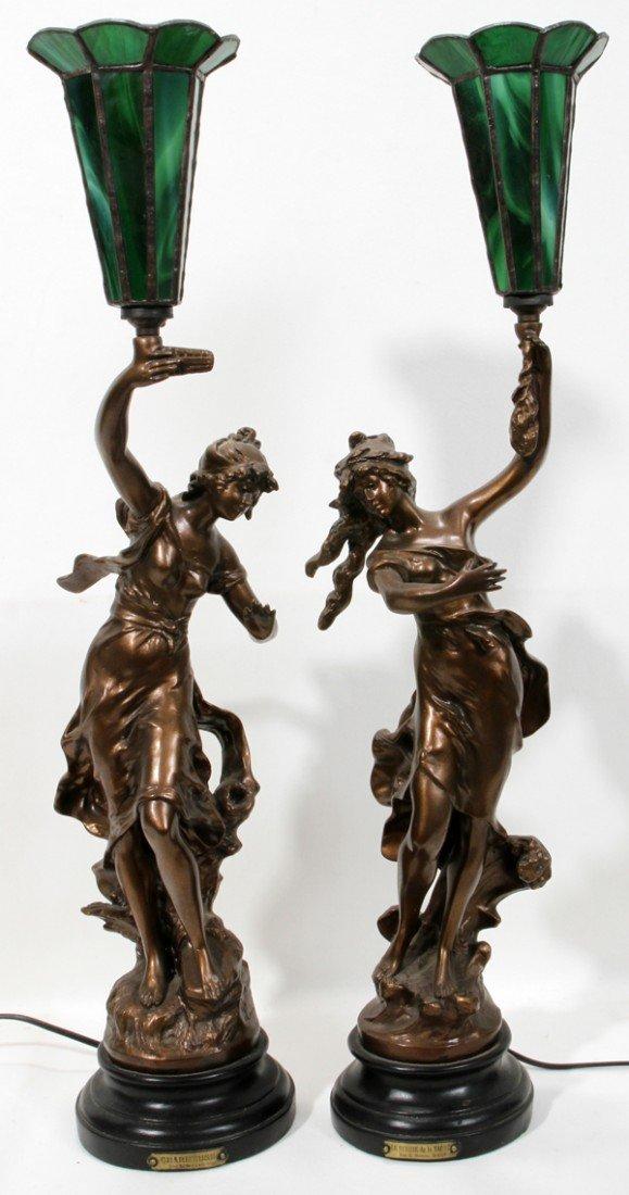 020186: PAR L. MOREAN SCULPTURES, MADE INTO LAMPS, TWO
