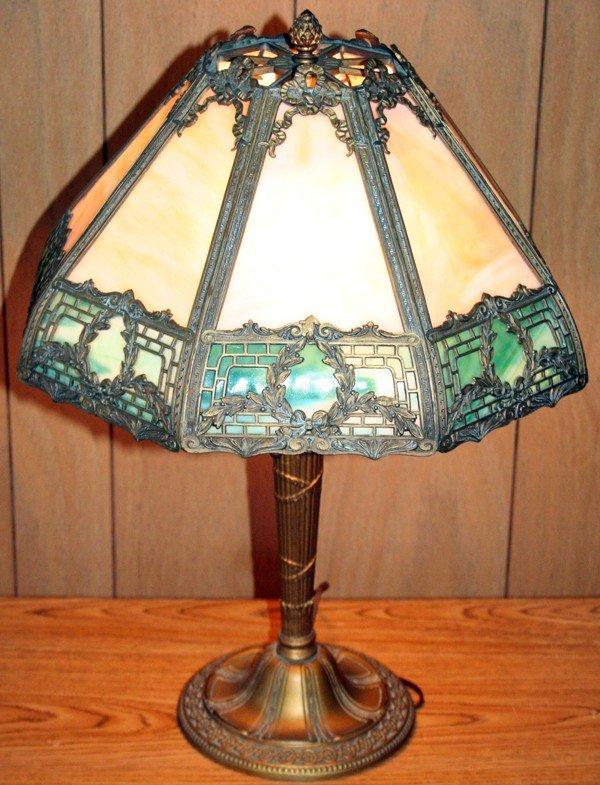 020188: BENT GLASS AND GILT METAL TABLE LAMP, C 1930,