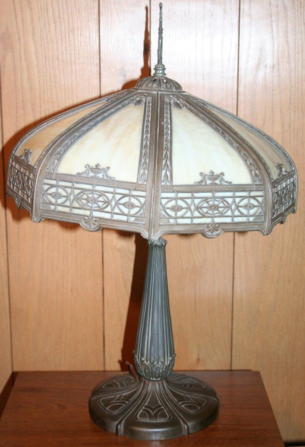 020189: BENT GLASS AND CAST METAL TABLE LAMP, C 1930,