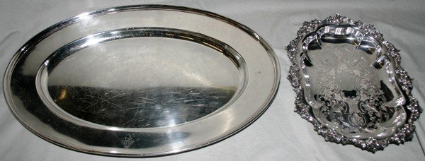 """020192: SILVER PLATE TRAYS, TWO, L 11"""" & 18"""""""