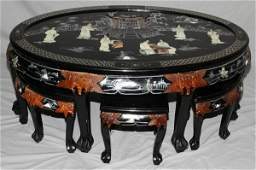 020246: CHINESE BLACK LACQUER LOW TABLE WITH 6 STOOLS,