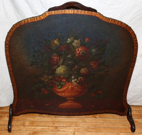 020291: FBM CO. HAND PAINTED LEATHER FIRE SCREEN, H 37""