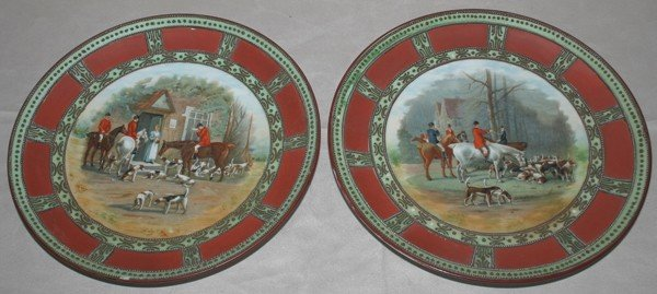 020397: HAND PAINTED NIPPON PLATES, TWO, DIA 9 1/4""