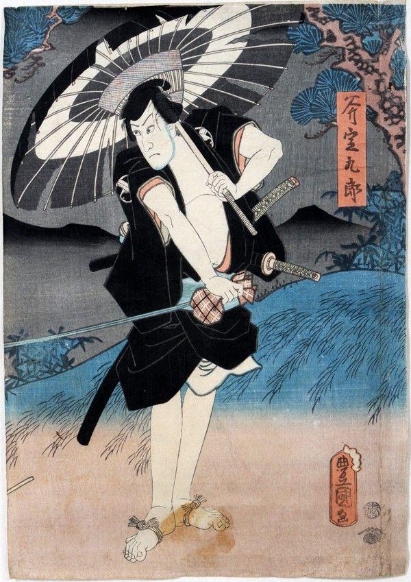 022387: TOYOKUNI III, UKIYO-E COLOR WOODBLOCK PRINT,