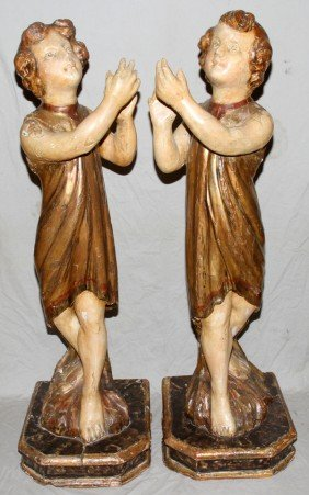 021021: ITALIAN CARVED WOOD FIGURAL CURTAIN SUPPORTS,