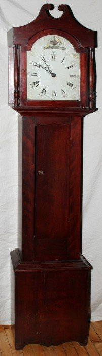 021022: AMERICAN CHERRY TALL CASE CLOCK, C. 1850