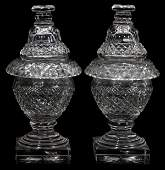021071: WATERFORD CRYSTAL COVERED COMPOTES, 19TH C.