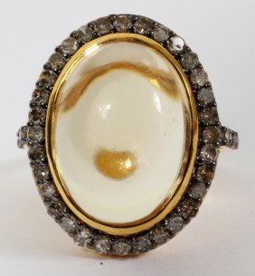 12.59CT CITRINE & 1.09CT DIAMOND T.W. RING