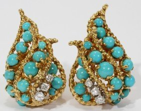 18KT GOLD, TURQUOISE & DIAMOND EARCLIPS, PAIR