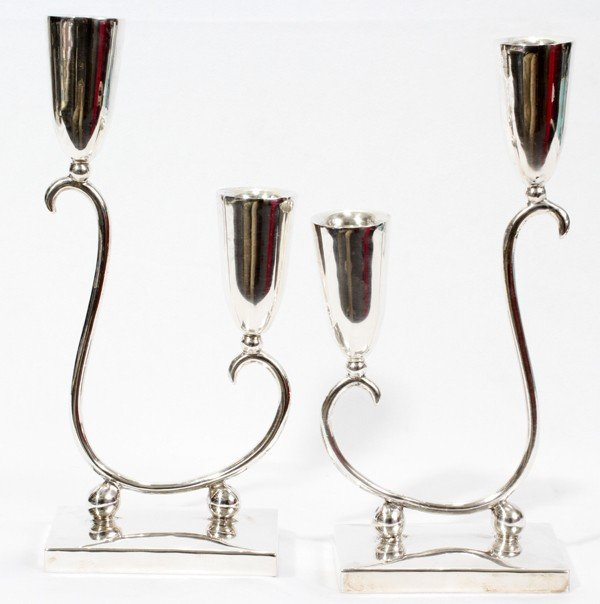 021150: P. G .LOPEZ STERLING TWO-LIGHT CANDLESTICKS,