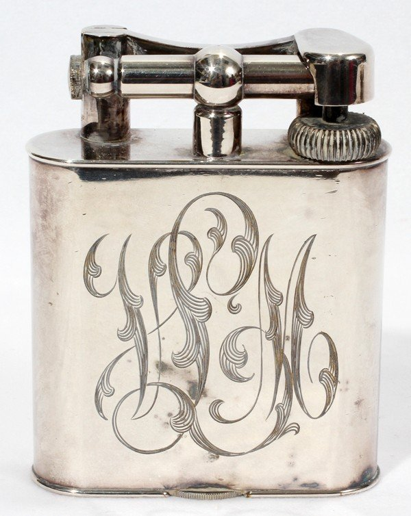 021152: DUNHILL SHEFFIELD SILVERPLATE TABLE LIGHTER,